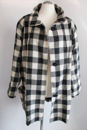 Vintage Mantel Karo Größe 44 Schwarz Weiß Stehkragen Cape Überwurf Jacke Wollstoff Kariert Rockabilly