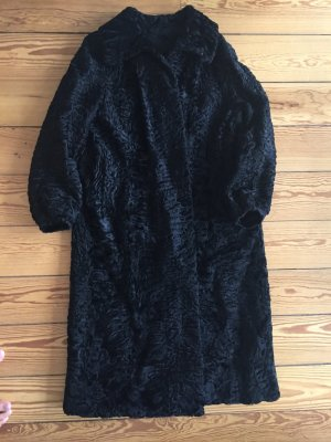 Vintage-Mantel, Lammwolle, Lambswool, Mantel, schwarz