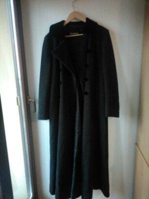 Vintage Mantel, Zarenmantel in dunkelgrau mit Samtdetails, 40+