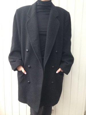 Vintage Mantel Zweireiher Anthrazit Grau oversize Unisex Jacke Cashmere