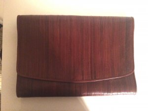 Clutch brown red leather