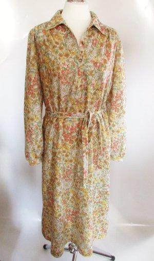 Vintage Maxi Kleid Kober Größe L 42 44 Millefleur Polokragen Blumen 40er 60er Romantisch Wolle Schurwolle Western