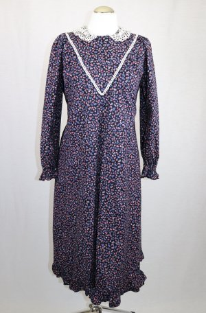Vintage Maxikleid Kleid Größe M 38 Kleid Rüschen Spitze Kragen Millefleur Landhaus 1900 Jahre Hauskleid