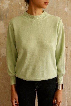 Vintage Jersey de lana verde pálido-verde claro lana merina