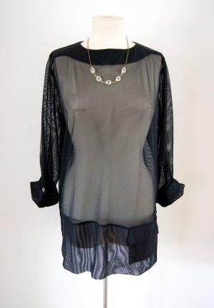 Vintage Mesh-Shirt schwarz oversized Netzshirt mit Tasche, 80er rave grunge