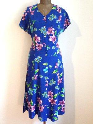 Vintage Midi Kleid aus Viskose mit Blumemuster, Gr. 38