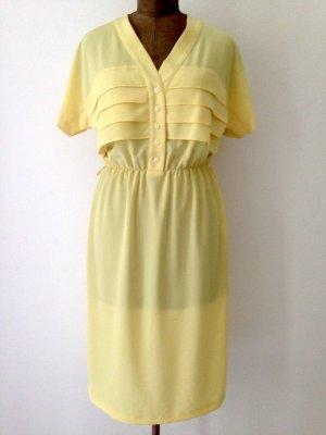 Vintage Midi Kleid in Hellgelb, Gr. 40