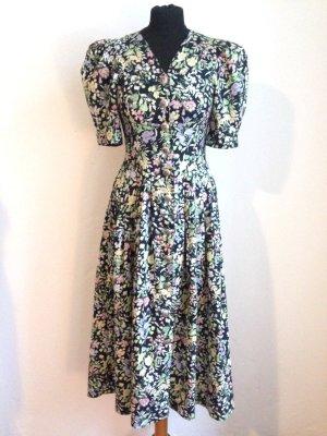 Vintage Midi Kleid mit Blumenmuster aus Baumwolle, Gr. 34/36