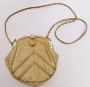 Vintage Mini Handtasche Clutch Beige Braun 80er Bügelverschluss Clipverschluss Abendtäschchen Leder