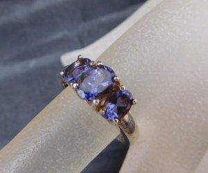 Vintage Modern Art Design Ring Sterling 925 Silber Amethyst Edelstein