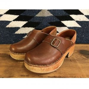 Vintage Multnomah Leather Handmade Wood Clogs Women's Size 6 6.5 Made In USA 70s
