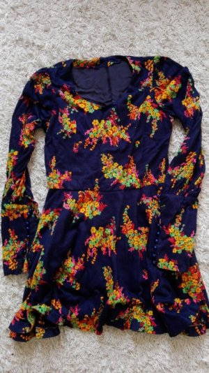 Vintage navy long sleeve flower dress