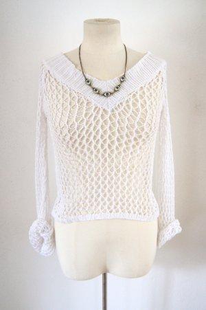 Vintage Netz-Shirt weiß, kurzes Netz-Oberteil, 80er rave grunge
