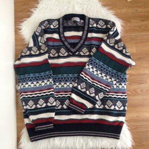 Vintage Norweger Strickpullover XXL Oversized Pullover Azteken Ethno Muster