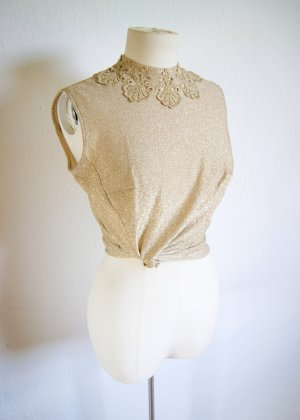 Vintage Oberteil gold glitzernd, Turtle neck top ornamental Barock