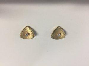 Pendientes de clip color oro-blanco puro metal