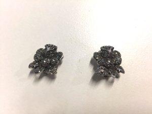 Vintage Ohrclips Rosen - Silber mit Steinchen