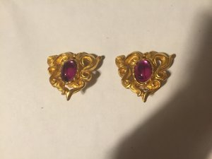 Christian Lacroix Earclip gold-colored-magenta metal