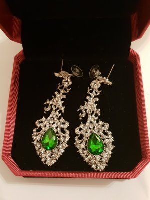 Earring silver-colored-green