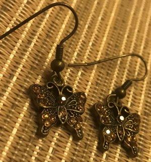 Vintage Ohrringe Ohrhänger im Retro LOOK * kleine Schmetterlinge * funkeln sehr schön :)