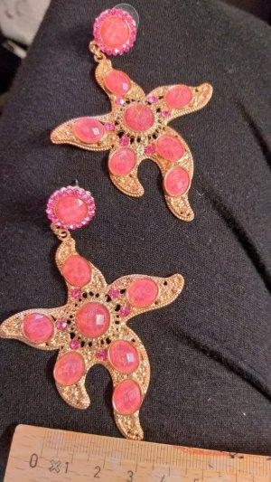 Vintage Ohrstecker Ohrringe Seestern pink gold XL