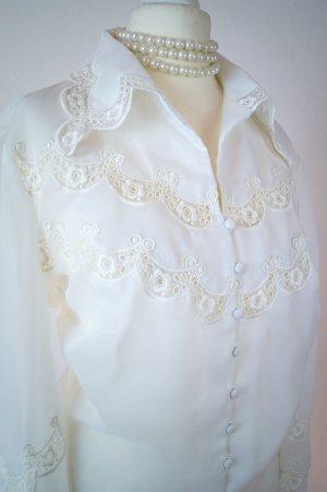 Vintage Original 70s, weisse Bluse aus Viskose & Spitze, elegant