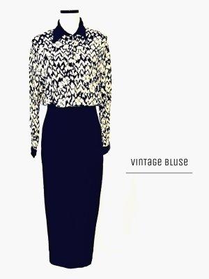 Vintage Original Bluse mit Blumen abstrakt schwarz Creme / true Vintage / 40-42