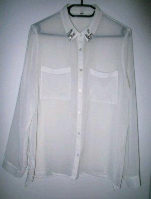 Vintage Oversize Bluse 38 Silber