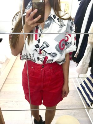 American Vintage Blouse wit-rood