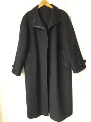 Vintage Oversize Mantel Dunkelgrau Schurwolle Alpaka Langmantel Wintermantel Blogger Trend