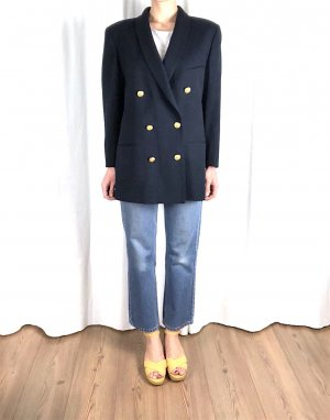 Vintage Oversize Marine Blazer Cosy Blogger Caban Kurzmantel 100% Schurwolle