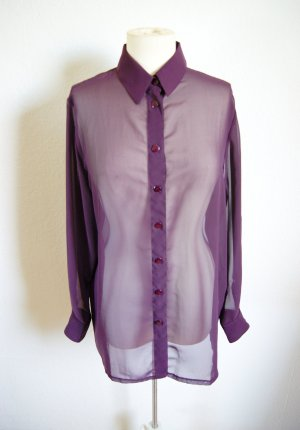 Vintage oversized Bluse Pflaume, transparente Longbluse Burgund, grunge