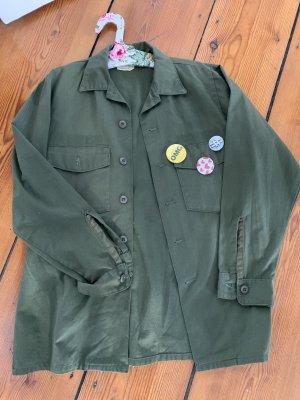 Vintage Oversized Military Shirt Hemd in Khaki Grün