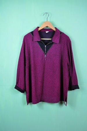 Vintage Oversized Pullover in Beere - Schwarz - Meliert