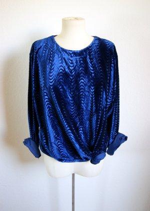 Vintage oversized Samtpullover Königsblau, strukturierter Sweater, 80er Trance