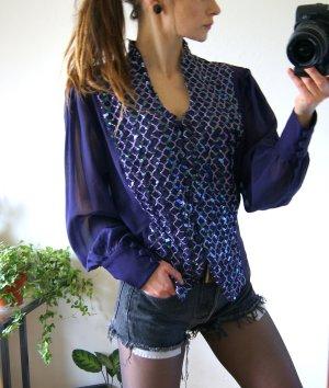 Vintage Pailletten-Bluse, lila oversized Bluse Puffärmel, 20er preppy