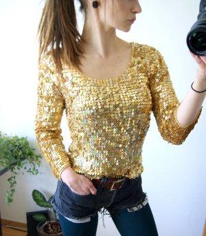 Vintage Paillettenshirt gold, Netzshirt Pailletten Glitzer, Rave Festival