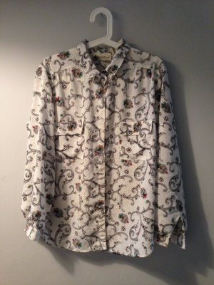 VINTAGE Paisley Blues Hemd mit Muster Retro in Gr. M L