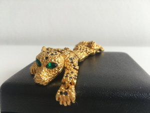 Vintage Panther Brosche Jaguar 70er Art Deco Windsor Style gold