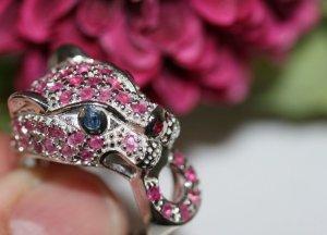 Vintage Panther Jaguar Ring Sterling silber echtsilber Rubine Saphir Edelstein Leopard Katze