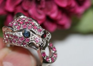 Vintage Panther Jaguar Ring Sterling silber echtsilber Rubine Saphire Edelstein Leopard Katze