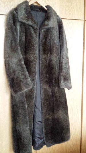 Manteau de fourrure gris brun-noir