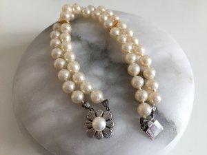Vintage Perlenarmband Perlen Armband echt Silber Echtsilber edel 2-reihig Perle