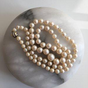 Vintage Perlenkette echte Perlencollier Echtperlen 585 Echtgold Perlen Collier Gold Gelbgold Weissgold Bicolor