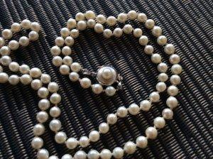 Vintage Perlenkette Echtsilber Silber Echtperlen Perlen Kette Collier