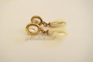 Vintage Perlenohrringe oval mit gold