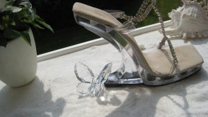 Vintage Pleaser Acryl Strass Sexy High Heels nicht nur Cool am Pool