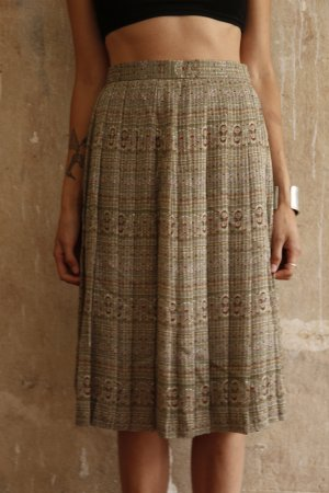 Vintage Pleated Skirt multicolored synthetic fibre