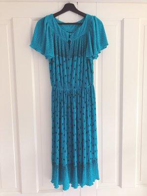 0039 Italy Robe mi-longue bleu fluo-noir