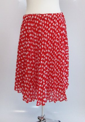 Vintage Pleated Skirt white-red mixture fibre